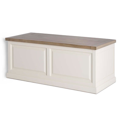 Hove Ivory Blanket Box Trunk Ottoman - Side view