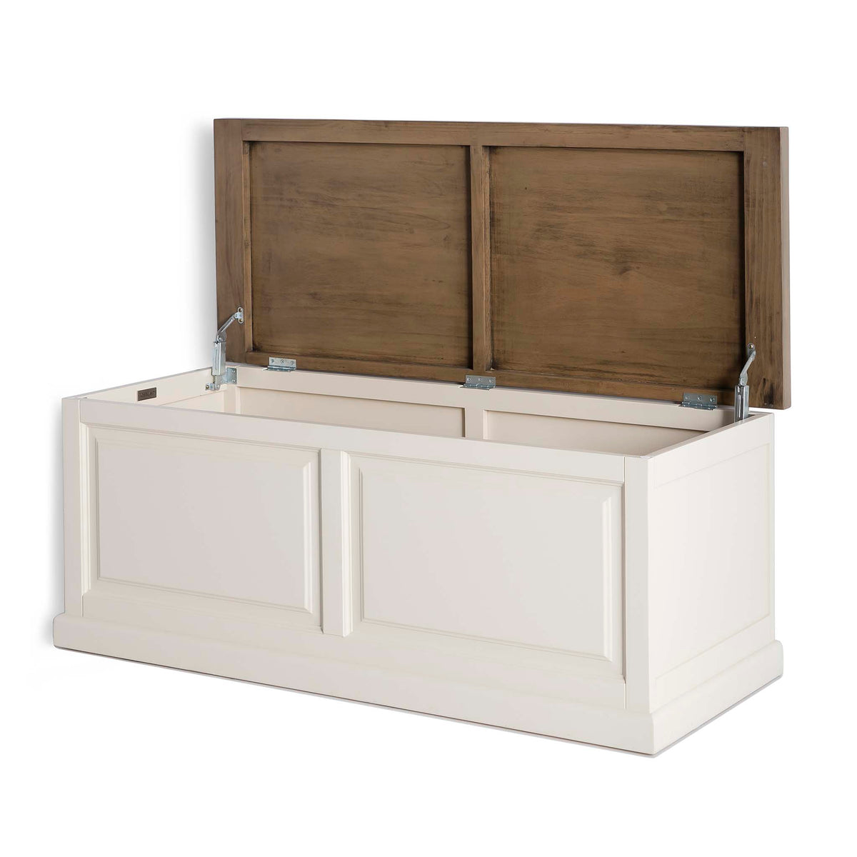 Hove Ivory Blanket Box Trunk Ottoman - Side view with lid open