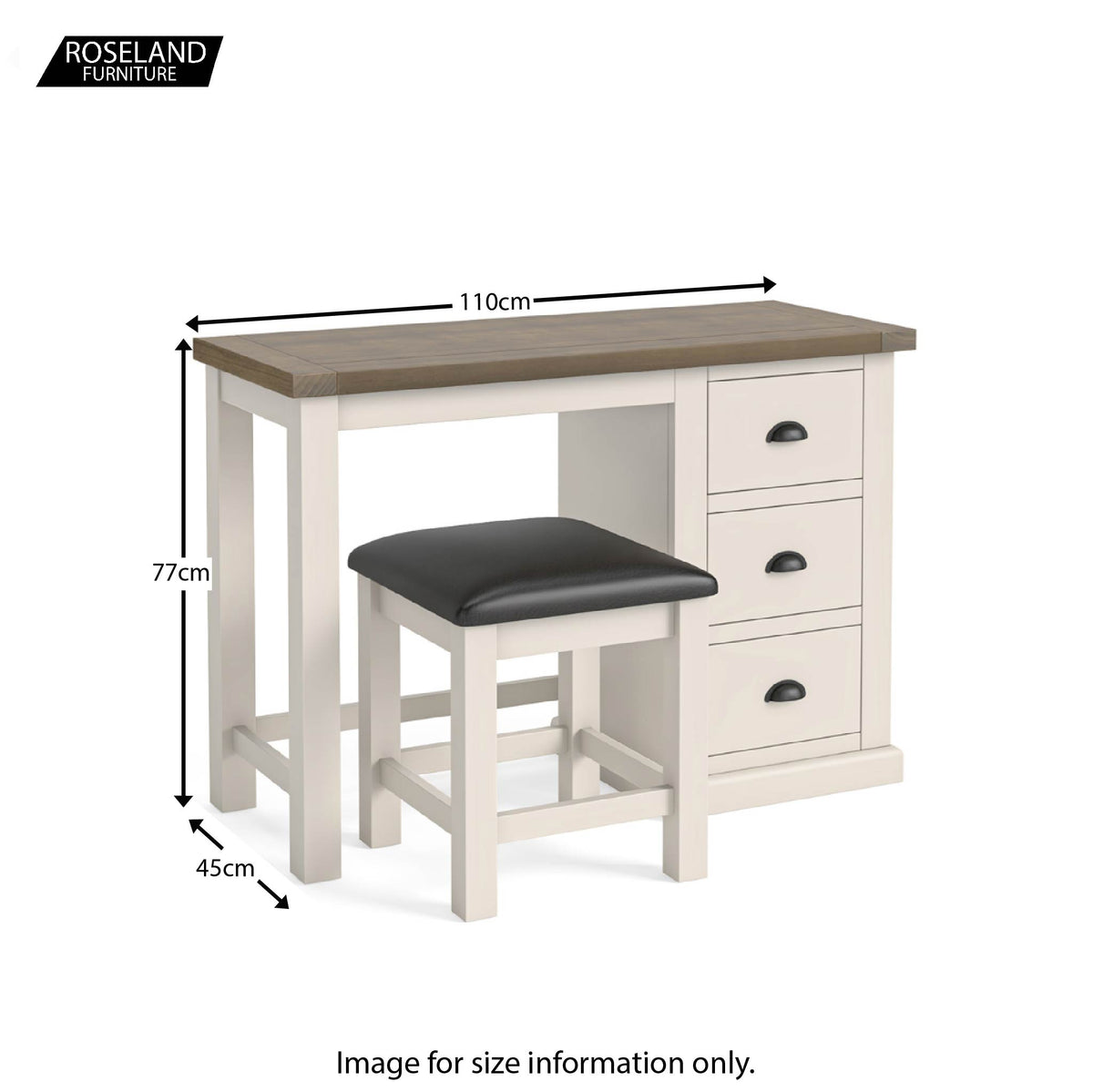 Dimensions - Hove Ivory Dressing Table & Stool