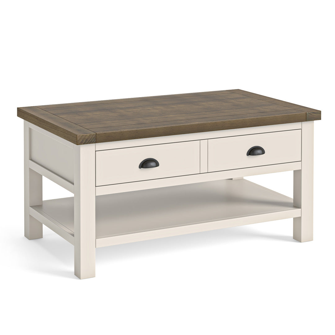 Hove Ivory Coffee Table with Drawer by Roseland Furniture