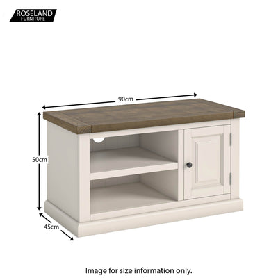 Dimensions - Hove Ivory 90cm Small TV Stand
