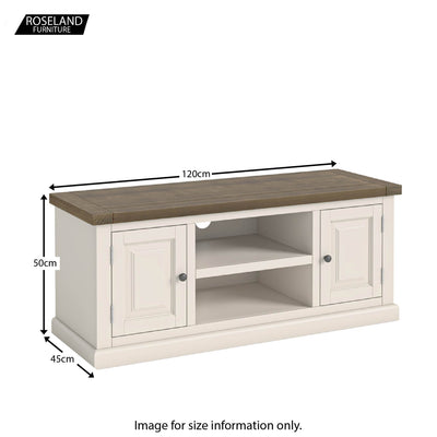 Dimensions - Hove Ivory 120cm Large TV Stand