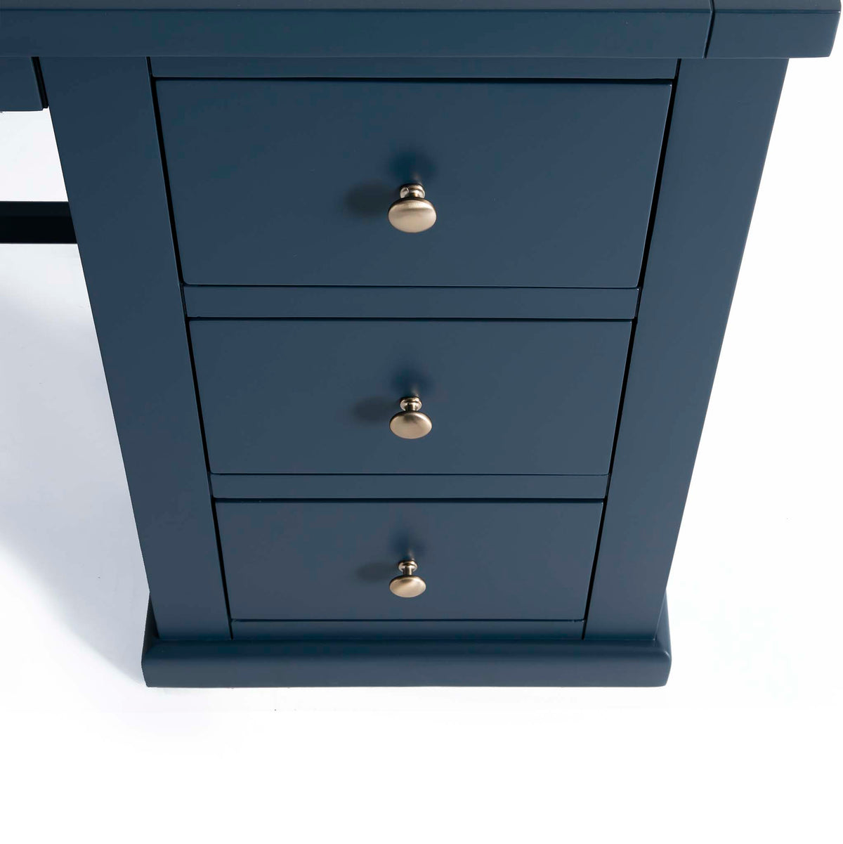 Cheltenham Blue Dressing Table & Stool - Close up of drawers on dressing table