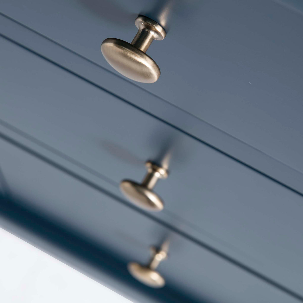 Cheltenham Blue Dressing Table & Stool - Close up of drawers looking down on them