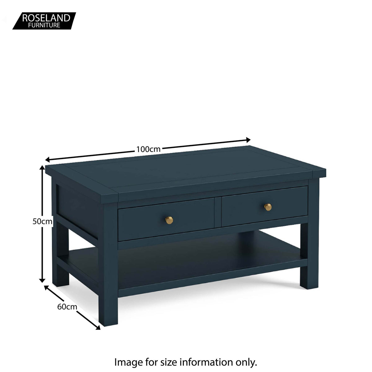 Dimensions - Cheltenham Blue Coffee Table with Drawer