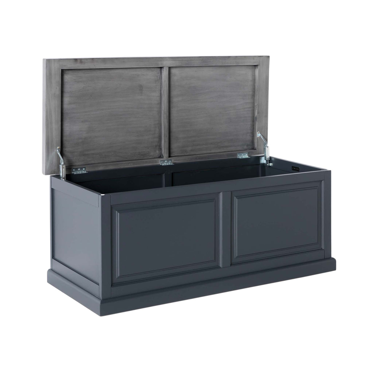 Bristol Charcoal Blanket Box with lid open