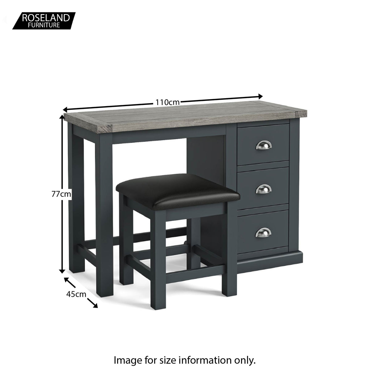 Bristol Charcoal Dressing Table Set with Mirror