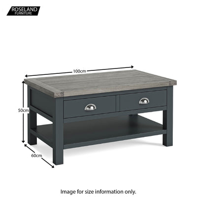 Dimensions - Bristol Charcoal Coffee Table with Drawer