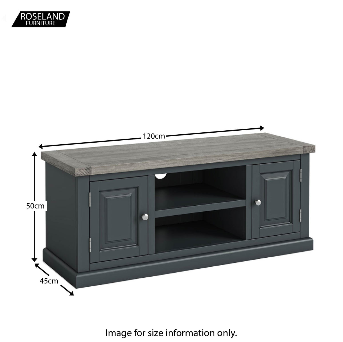 Dimensions - Bristol Charcoal 120cm Large TV Stand