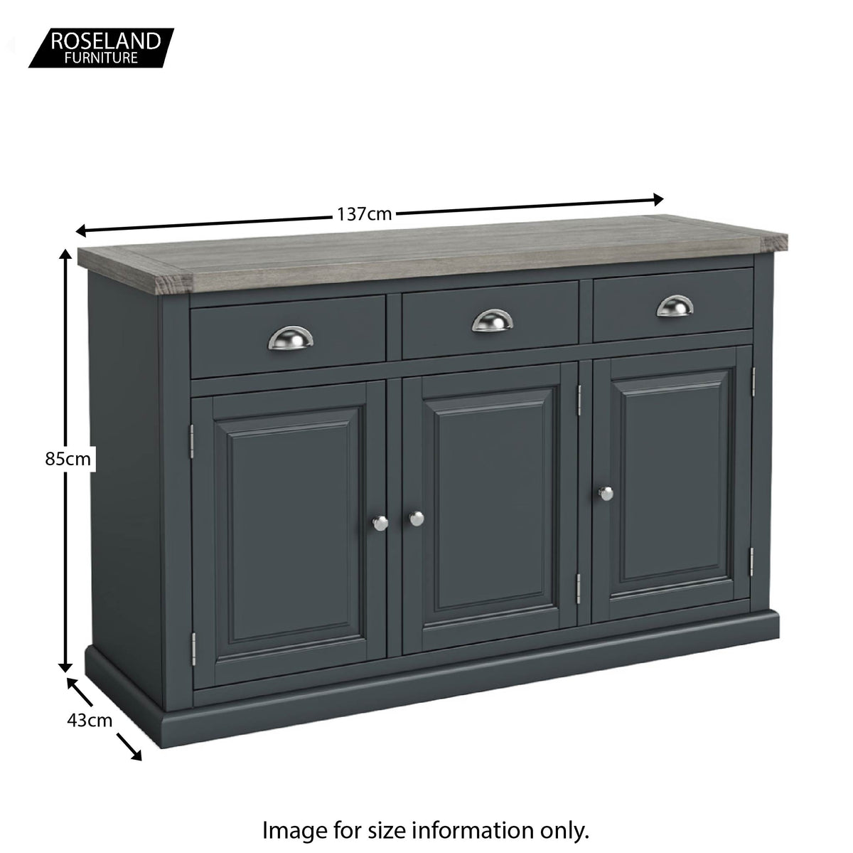 Dimensions - Bristol Charcoal Large Sideboard