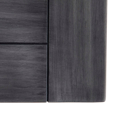 Bristol Charcoal Low Bookcase - Birds eye view of top front corner