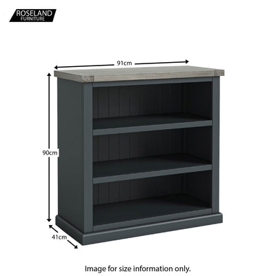 Dimensions - Bristol Charcoal Low Bookcase