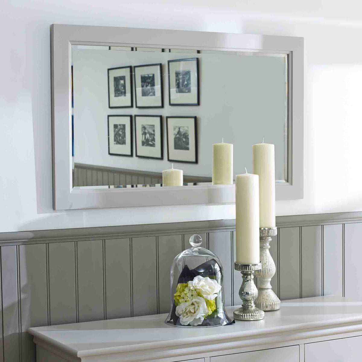 Lifestyle Image of the Melrose Cotton White Large Wall Mounted Mirror