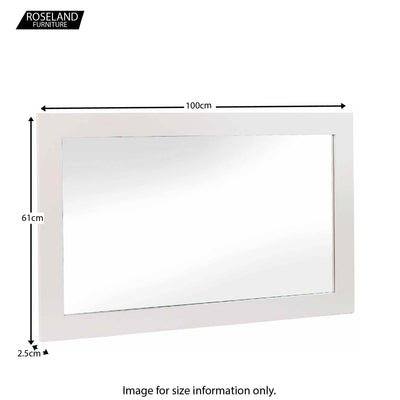 Dimensions of the Melrose Cotton White Large Wall Mounted Mirror