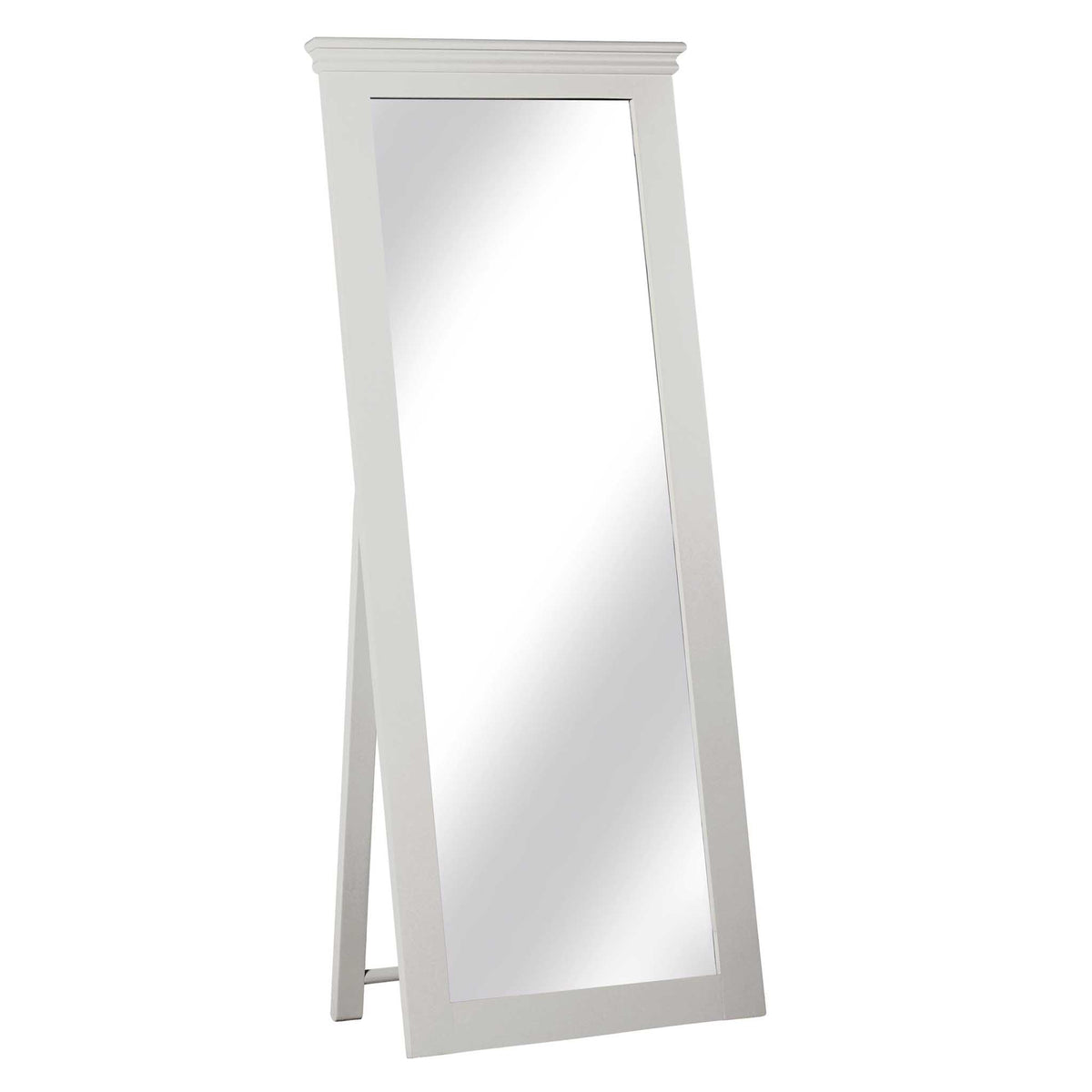 Melrose Cotton White Freestanding Cheval Mirror from Roseland Furniture