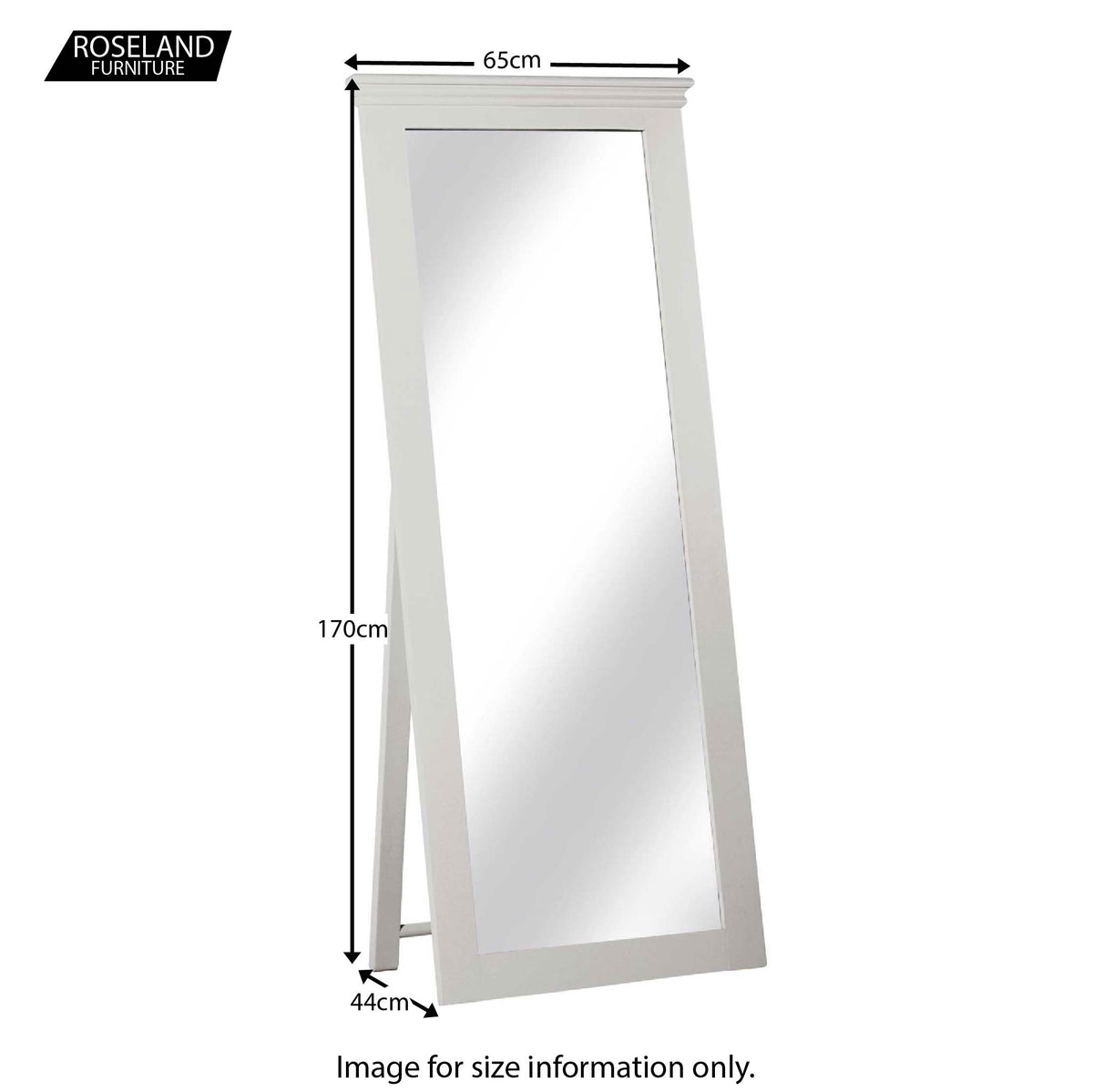 Dimensions of the Melrose Cotton White Freestanding Cheval Mirror