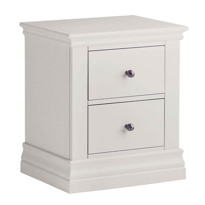 Melrose Cotton White 2 Drawer Bedside Table from Roseland Furniture