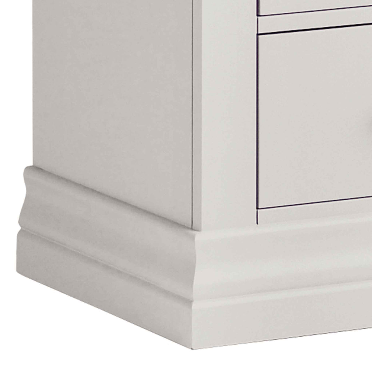 close up of corniced plinth on the Melrose Cotton White 2 Drawer Bedside Cabinet