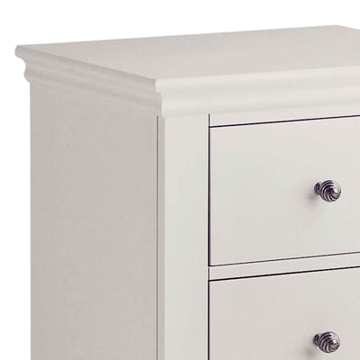 close up of the corniced top on the Melrose Cotton White 2 Drawer Bedside Cabinet