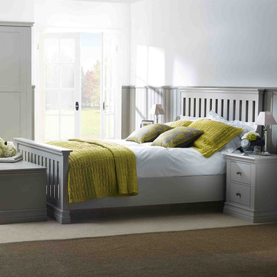 Lifestyle of the Melrose Cotton White 2 Drawer Bedside Cabinet from Roseland Furniture