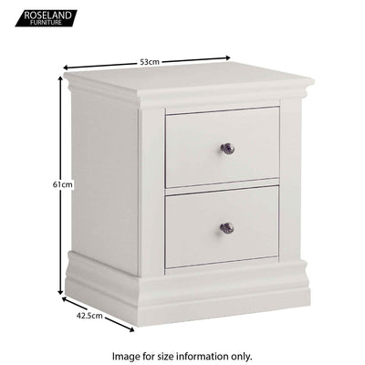 Dimensions for the Melrose Cotton White 2 Drawer Bedside Table from Roseland Furniture
