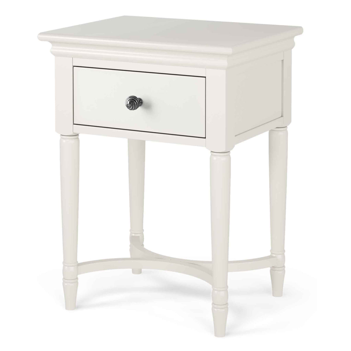 Melrose Cotton White Side Table with Drawer from Roseland Furniture