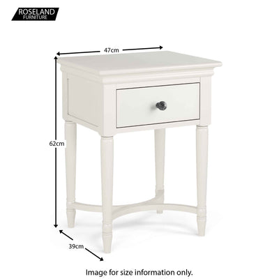 Dimensions for the Melrose Cotton White Nightstand with Drawer from Roseland Furniture