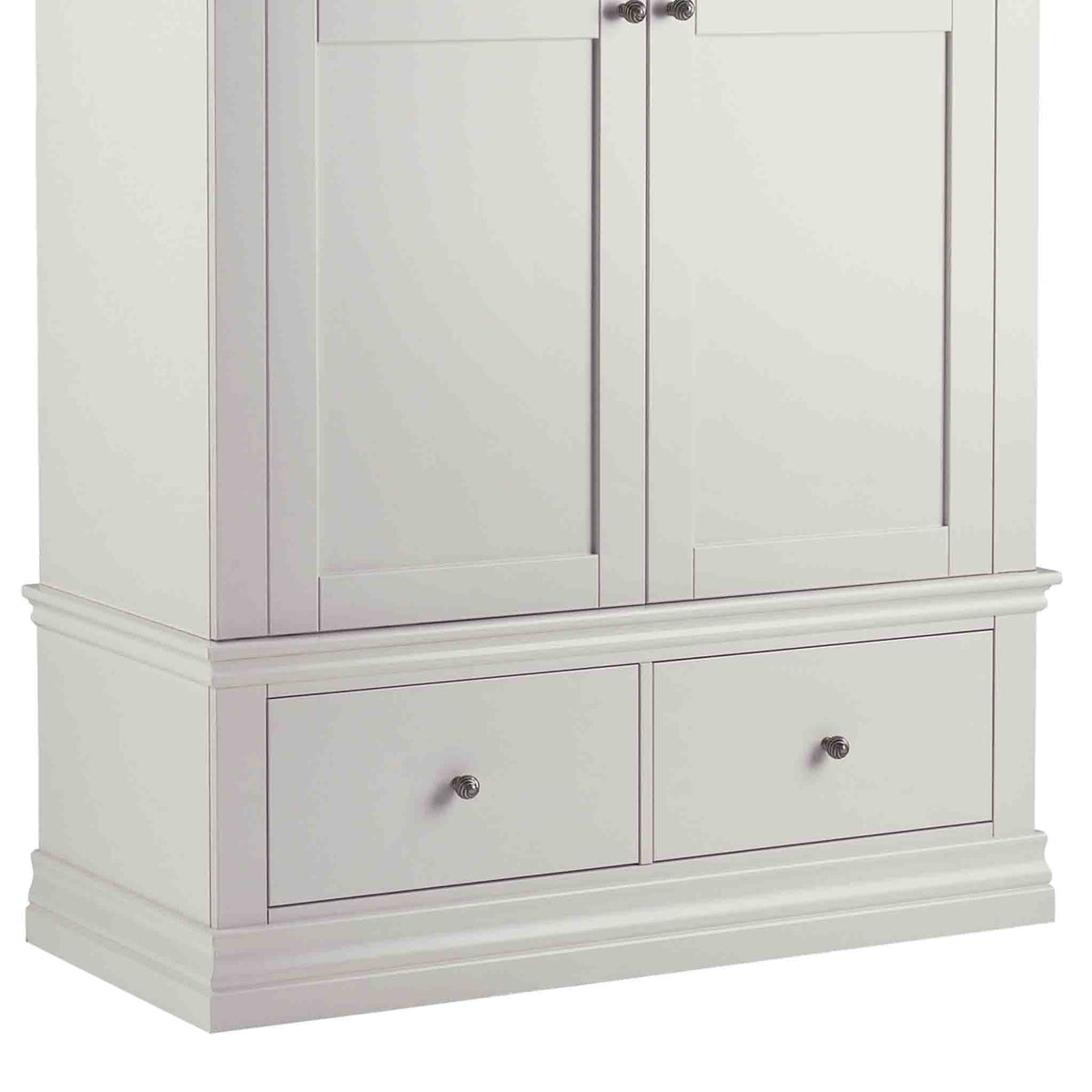 close up of drawers on the Melrose Cotton White Double Wardrobe