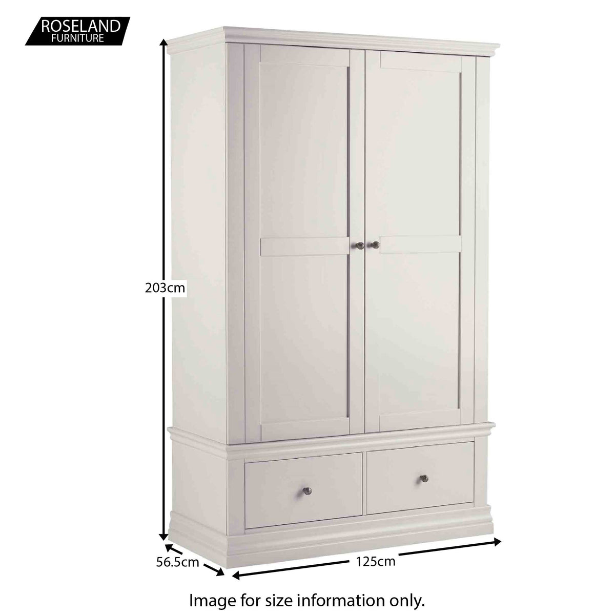 Dimensions from the Melrose Cotton White Double Wardrobe from Roseland Furniture