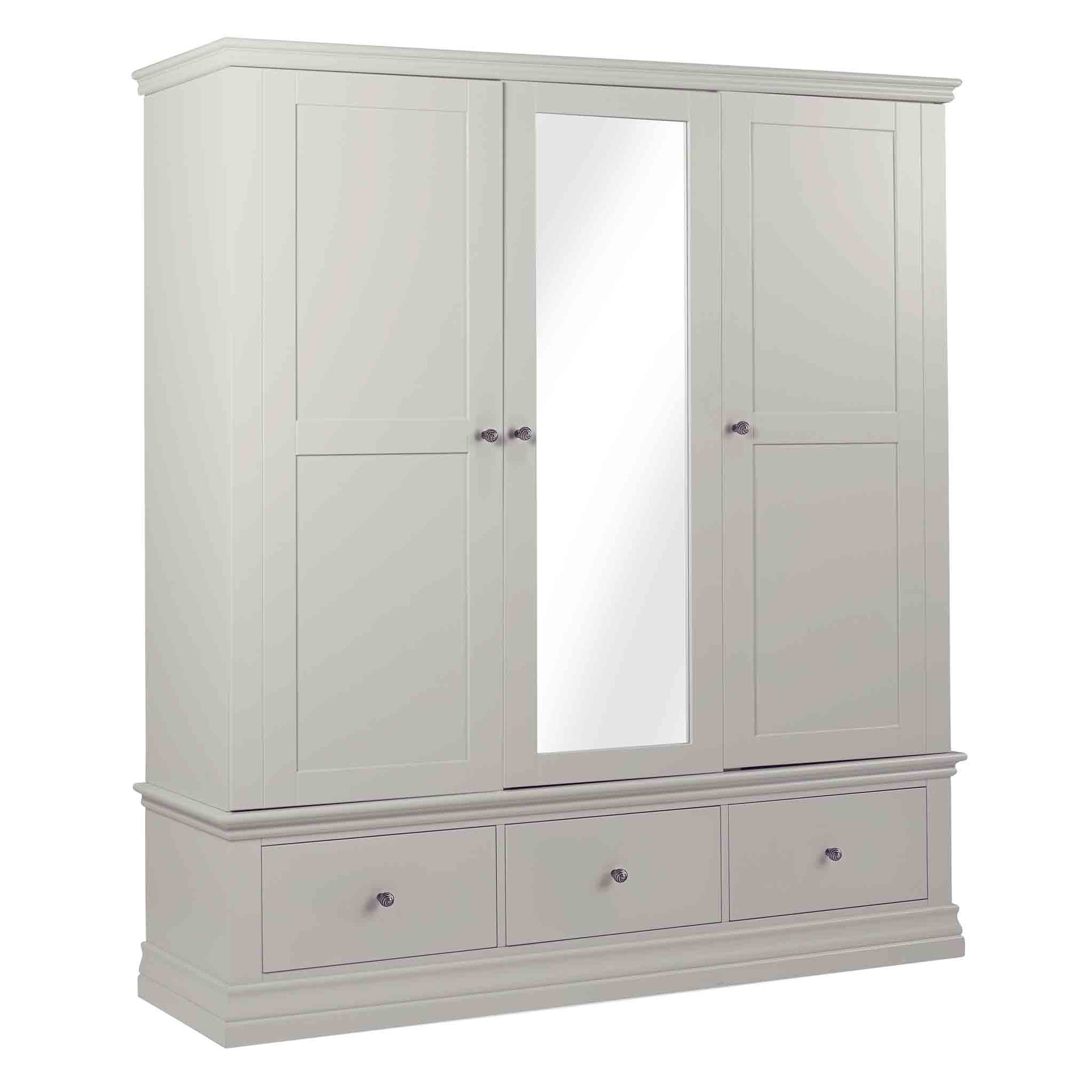 Melrose Cotton White Triple Wardrobe from Roseland Furniture