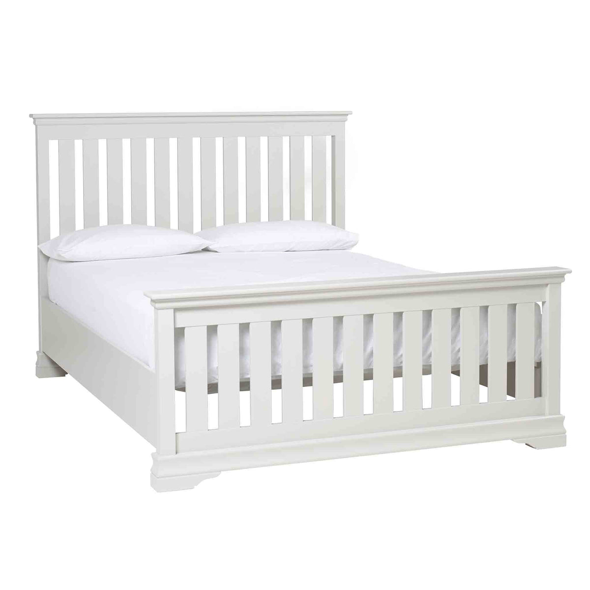 Melrose Cotton White King Size Slatted Bed Frame from Roseland Furniture