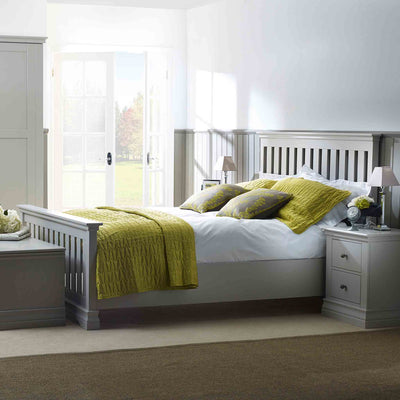Lifestyle image of the Melrose Cotton White King Size Slatted Bed Frame