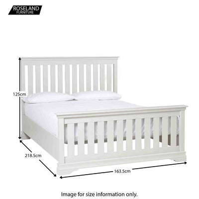 Dimensions for the Melrose Cotton White King Size Slatted Bed Frame
