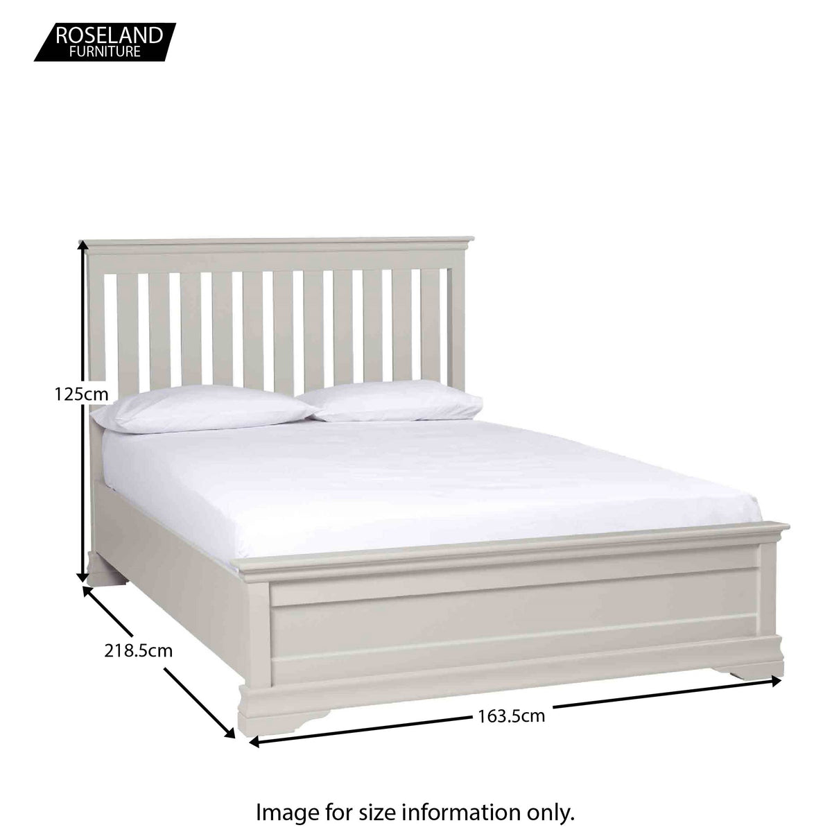 Dimensions for Melrose Cotton White King Size Bed Frame