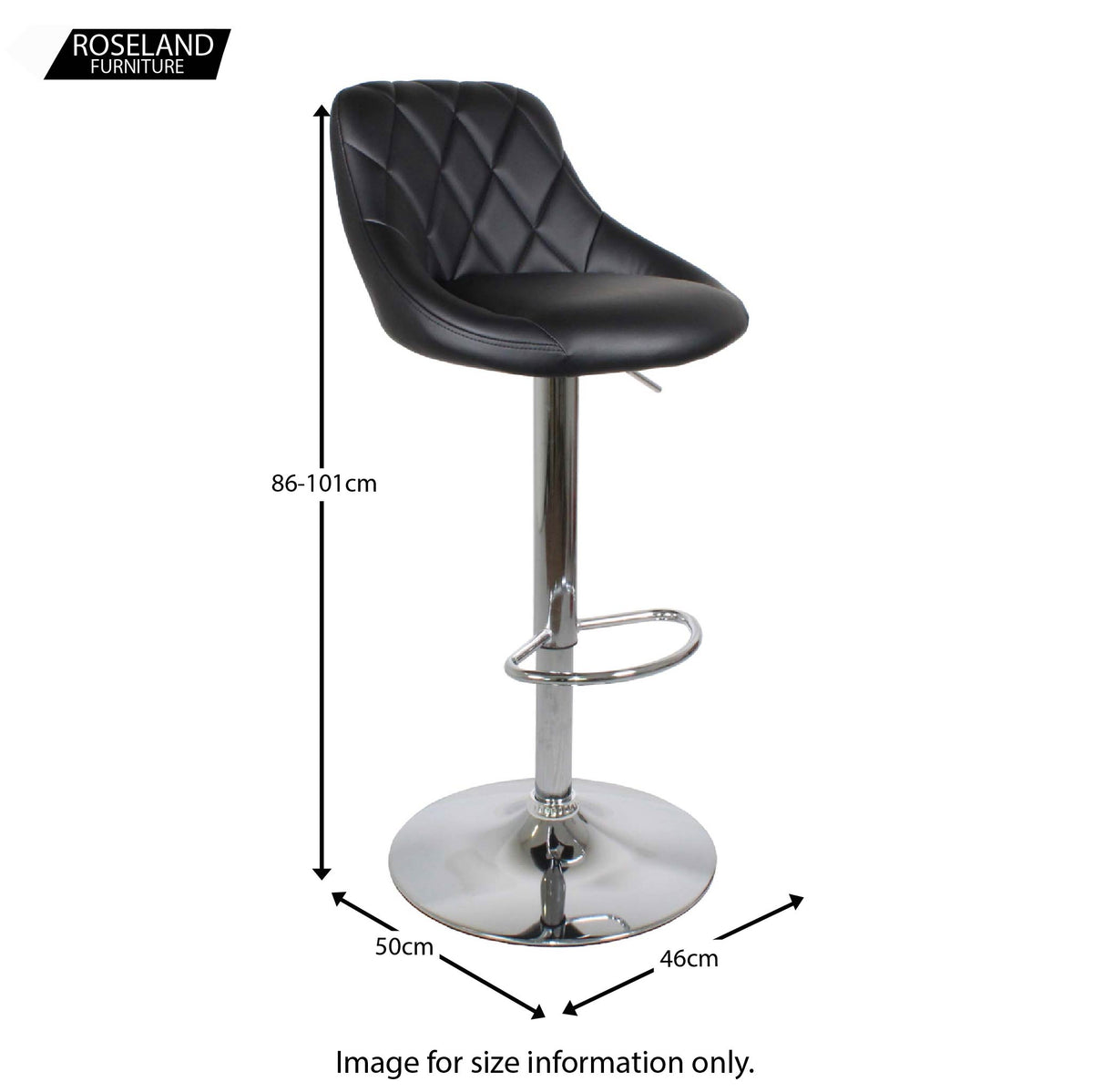Dimensions for the Shadow Grey Abberley Adjustable Breakfast Bar Stool from Roseland Furniture