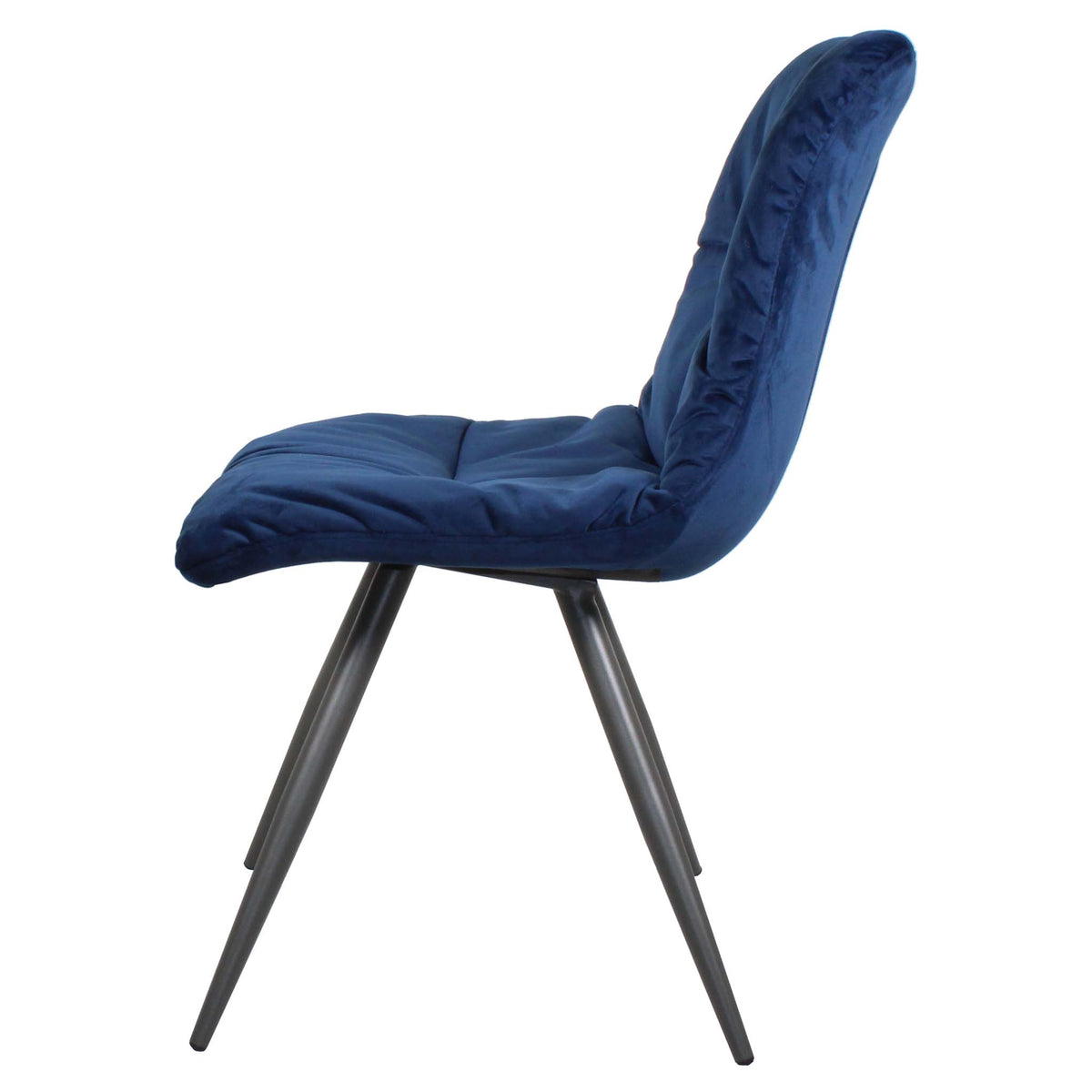 Side view of Blue Addison Velvet Chair from Roseland Furniture