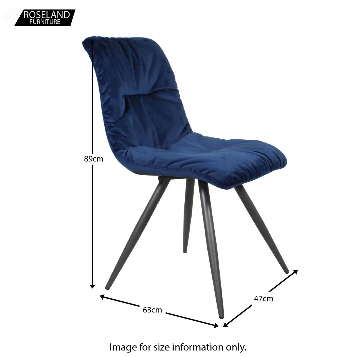 Dimensions of the Blue Addison Velvet Chair from Roseland Furniture