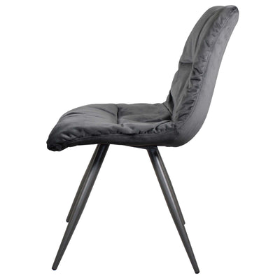 Side view of the Dark Grey Addison Velvet Chair from Roseland Furniture