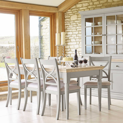 Lifestyle image of the Melrose Grey Extendable Dining Table from Roseland Furniture