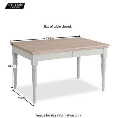 Dimensions for the closed Melrose Grey Extendable Dining Table