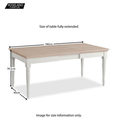 Dimensions for the opened Melrose Grey Extendable Dining Table from Roseland Furniture