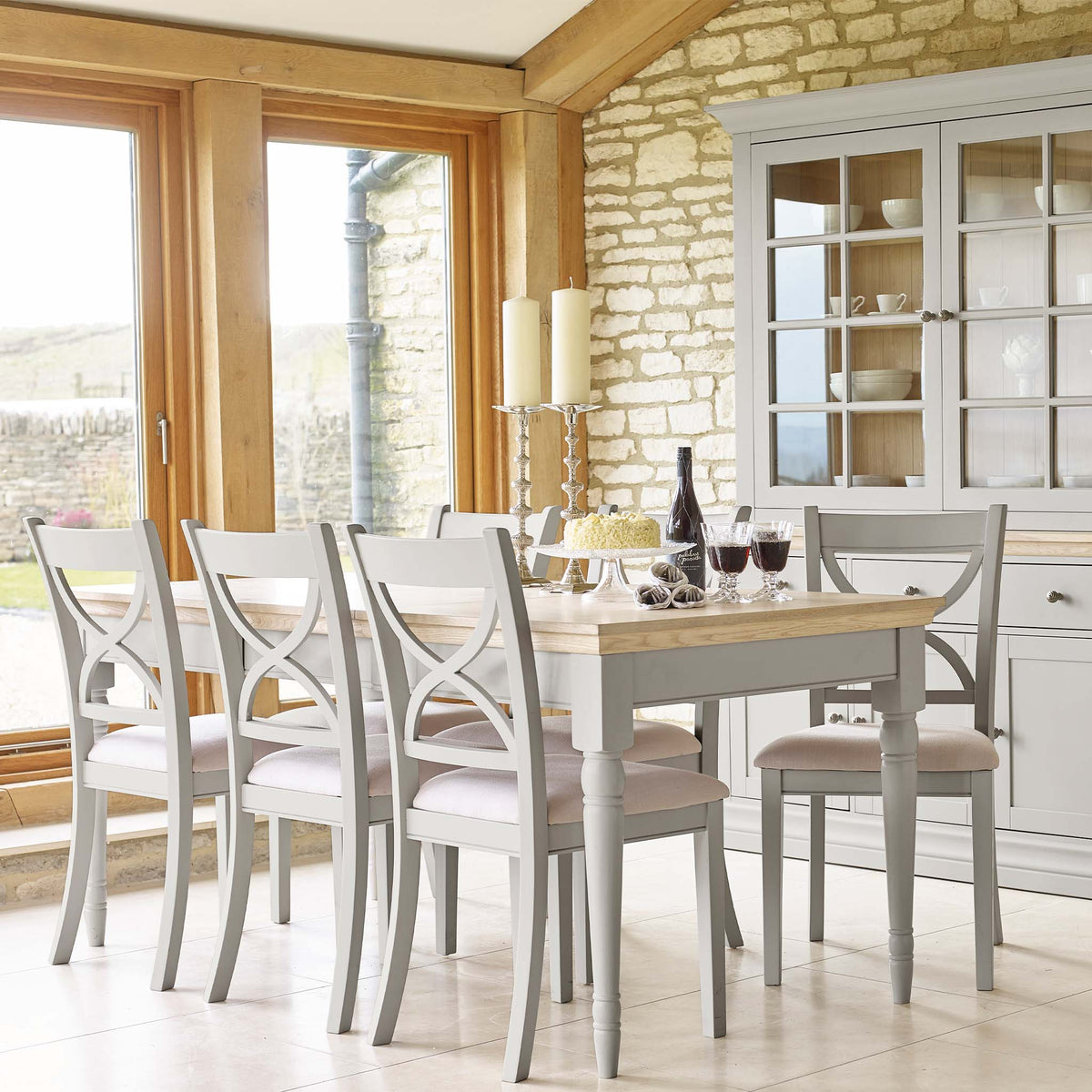 Lifestyle image of the Melrose Grey Dining Chair from Roseland Furniture