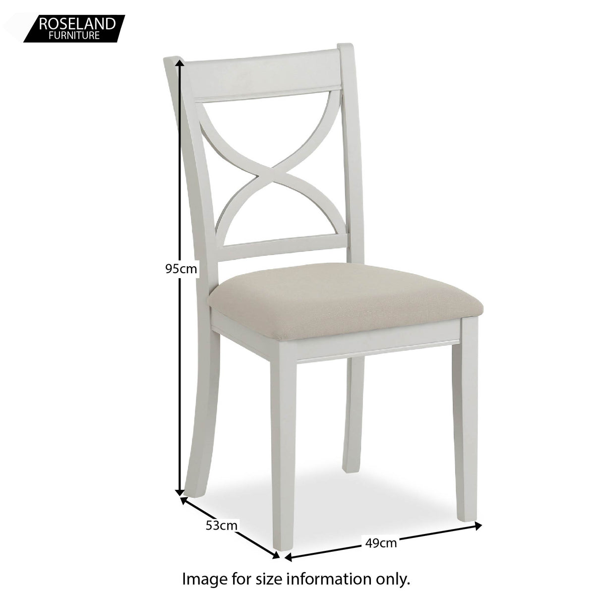 Dimensions of the Melrose Grey Dining Chair from Roseland Furniture