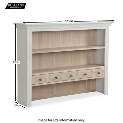 Dimensions for the Melrose Grey Large Open Dresser Hutch from Roseland Furniture