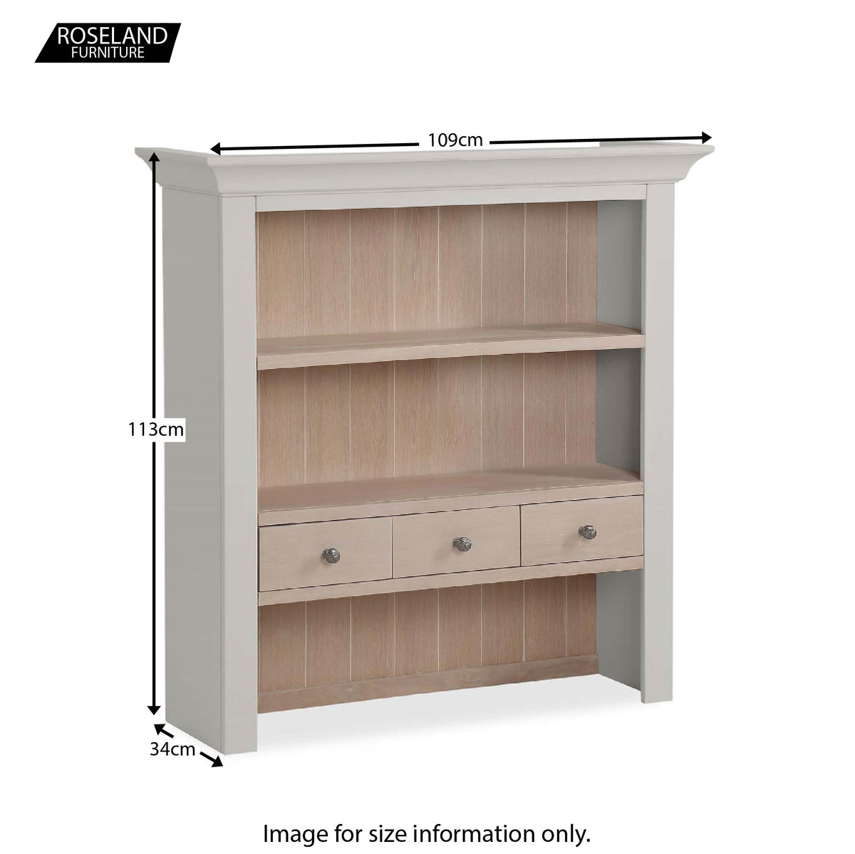 Dimensions for the Melrose Grey Small Open Dresser Hutch from Roseland Furniture