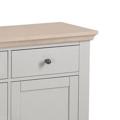 close up of the limed oak top and spacious drawer on the Melrose Grey Large Sideboard from Roseland Furniture