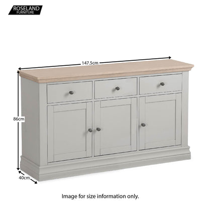 Dimensions for the Melrose Grey Large Sideboard from Roseland Furniture