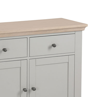 close up of the limed oak top and spacious drawer from the Melrose Grey Small Sideboard