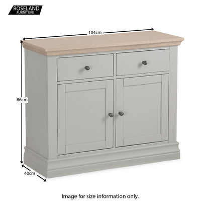 Dimensions from the Melrose Grey Small Sideboard from Roseland Furniture