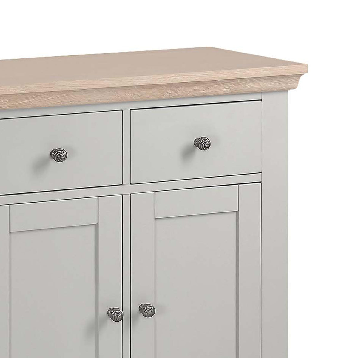 close up of the limed oak top and spacious drawer from the Melrose Grey Mini Sideboard